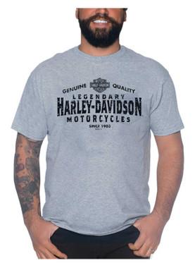 Harley-Davidson Men's Post Credits Chest Pocket Short Sleeve T-Shirt - Gray - Wisconsin Harley-Davidson