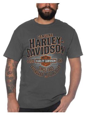Harley-Davidson Men's Power Train Short Sleeve Crew-Neck Cotton T-Shirt, Gray - Wisconsin Harley-Davidson