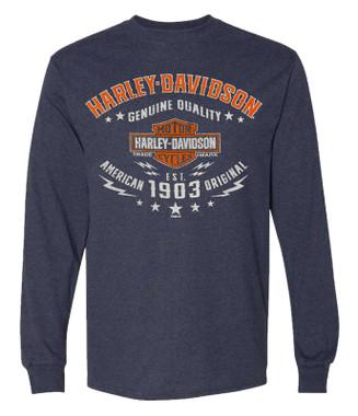 Harley-Davidson Men's Street Ready Long Sleeve Poly-Blend Crew-Neck Shirt, Navy - Wisconsin Harley-Davidson