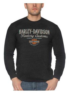 Harley-Davidson Men's Offended Long Sleeve Poly-Blend Crew-Neck Shirt, Black - Wisconsin Harley-Davidson