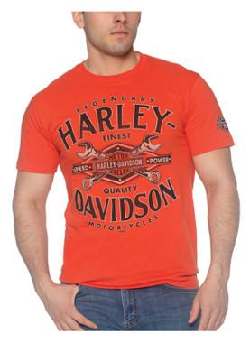 Harley-Davidson Men's Toolbox Short Sleeve Crew-Neck Cotton T-Shirt, Orange - Wisconsin Harley-Davidson