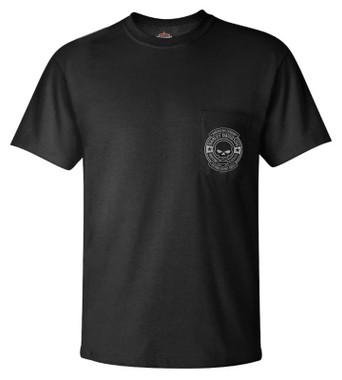 Harley-Davidson Men's Justified Skull Chest Pocket Short Sleeve T-Shirt - Black - Wisconsin Harley-Davidson