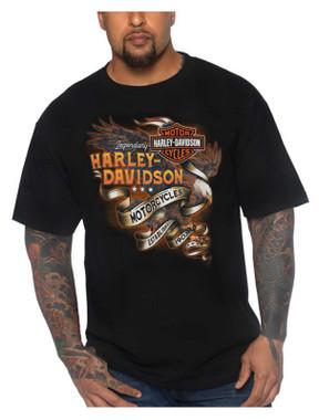 Harley-Davidson Men's Eagle B&S Crew-Neck Short Sleeve Cotton T-Shirt, Black - Wisconsin Harley-Davidson