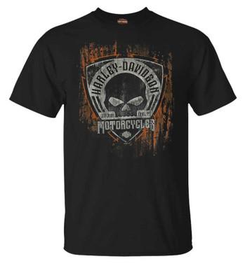 Harley-Davidson Men's Corrosion Short Sleeve Crew-Neck Cotton T-Shirt - Black - Wisconsin Harley-Davidson