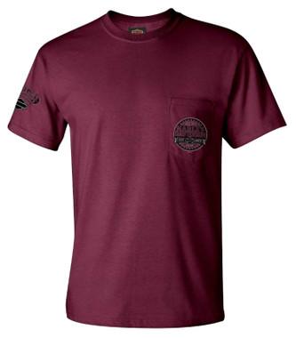 Harley-Davidson Men's First Gear Chest Pocket Short Sleeve T-Shirt - Maroon - Wisconsin Harley-Davidson