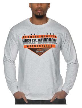 Harley-Davidson Men's Notoriety Long Sleeve Poly-Blend Crew-Neck Shirt, Gray - Wisconsin Harley-Davidson