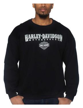 Harley-Davidson Men's Crest Poly-Blend Crew-Neck Pullover Fleece Sweatshirt - Wisconsin Harley-Davidson