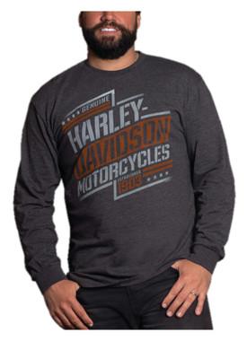 Harley-Davidson Men's Contender Long Sleeve Poly-Blend Crew-Neck Shirt, Gray - Wisconsin Harley-Davidson