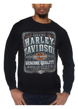 Harley-Davidson Men's Old Paint Long Sleeve Crew-Neck Cotton Shirt - Black - Wisconsin Harley-Davidson