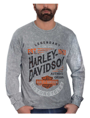 Harley-Davidson Men's Furious Long Sleeve Crew-Neck Cotton Shirt, Gray Wash - Wisconsin Harley-Davidson