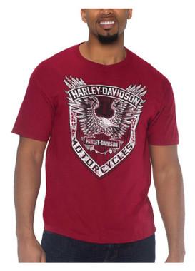 Harley-Davidson Men's Eagle Force Short Sleeve Crew-Neck Cotton T-Shirt, Red - Wisconsin Harley-Davidson