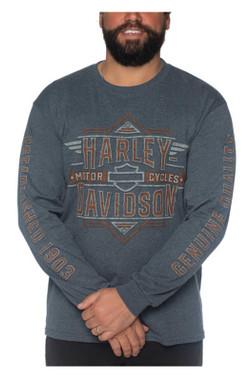 Harley-Davidson Men's Shift Long Sleeve Poly-Blend Crew-Neck Shirt, Gray - Wisconsin Harley-Davidson