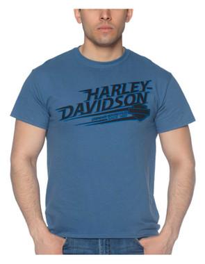 Harley-Davidson Men's Swift Crew-Neck Short Sleeve Cotton T-Shirt - Indigo Blue - Wisconsin Harley-Davidson