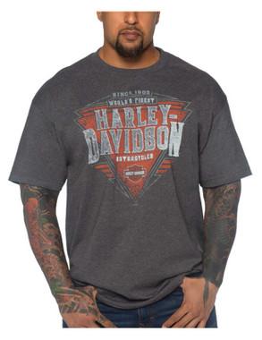Harley-Davidson Men's Finest Points Short Sleeve Crew-Neck T-Shirt, Heather Gray - Wisconsin Harley-Davidson