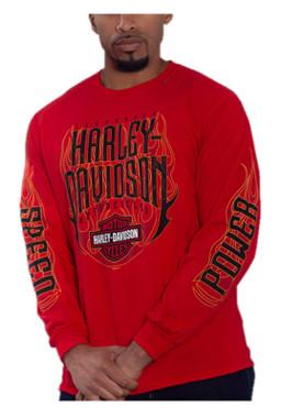Harley-Davidson Men's Hot Ride Flames Long Sleeve Crew-Neck Cotton Shirt, Red - Wisconsin Harley-Davidson