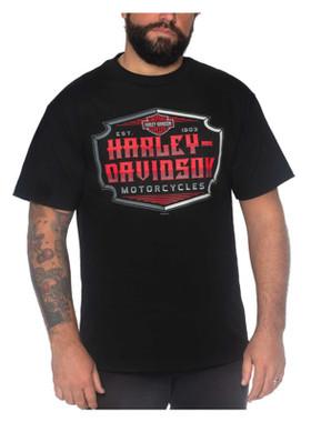 Harley-Davidson Men's Artful H-D Short Sleeve Crew-Neck Cotton T-Shirt, Black - Wisconsin Harley-Davidson