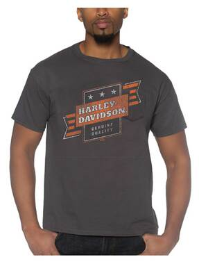 Harley-Davidson Men's Stunt Chest Pocket Short Sleeve Cotton T-Shirt - Charcoal - Wisconsin Harley-Davidson