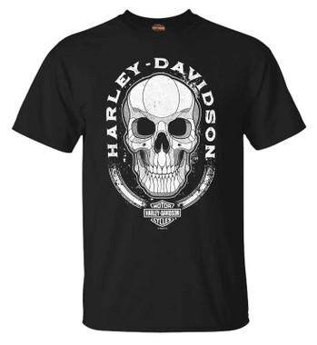 Harley-Davidson Men's Skull Shading Short Sleeve Crew-Neck Cotton T-Shirt, Black - Wisconsin Harley-Davidson