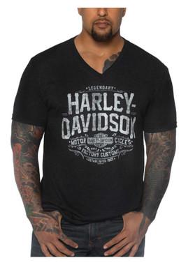 Harley-Davidson Men's Declare Short Sleeve Tri-Blend V-Neck Tee, Vintage Black - Wisconsin Harley-Davidson