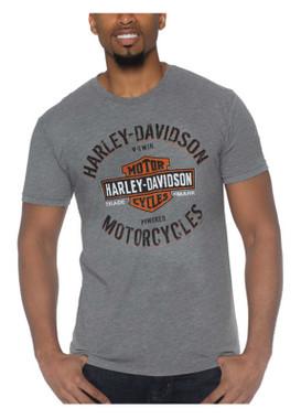 Harley-Davidson Men's Society Short Sleeve Tri-Blend Crew-Neck Tee, Heather Gray - Wisconsin Harley-Davidson