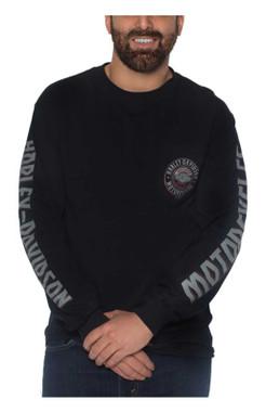 Harley-Davidson Men's Toggle Long Sleeve Chest Pocket Cotton T-Shirt, Black - Wisconsin Harley-Davidson