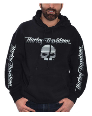 Harley-Davidson Men's Chrome Willie G Skull Pullover Poly-Blend Hoodie, Black - Wisconsin Harley-Davidson
