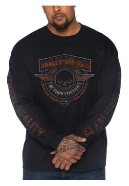 Harley-Davidson Men's Fast Track Long Sleeve Crew-Neck Cotton Shirt, Black - Wisconsin Harley-Davidson