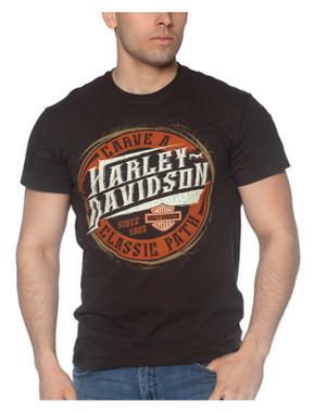 Harley-Davidson Men's Carved H-D Short Sleeve Crew-Neck Cotton T-Shirt, Brown - Wisconsin Harley-Davidson