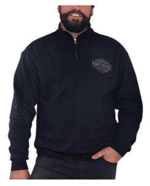 Harley-Davidson Men's Bar & Shield 1/4 Zip Cadet Pullover Sweatshirt - Black - Wisconsin Harley-Davidson