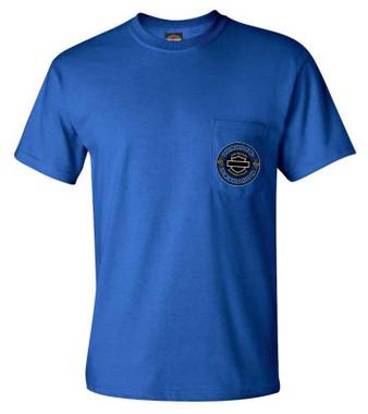 Harley-Davidson Men's Honcho B&S Chest Pocket Short Sleeve T-Shirt - Royal Blue - Wisconsin Harley-Davidson