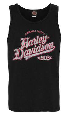 Harley-Davidson Men's Profoundly Sleeveless Cotton Muscle Tank Top - Black - Wisconsin Harley-Davidson