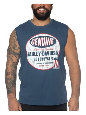 Harley-Davidson Men's Equipped #1 Sleeveless Cotton Muscle Tee - Ensign Blue - Wisconsin Harley-Davidson