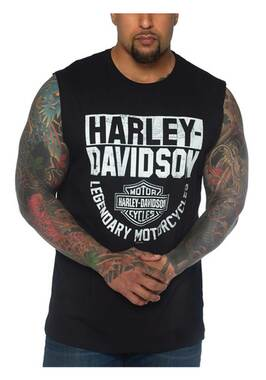 Harley-Davidson Men's H-D Bar & Shield Sleeveless Cotton Muscle Tee - Black - Wisconsin Harley-Davidson