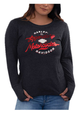 Harley-Davidson Women's Foiled Long Sleeve Scoop Neck Poly-Blend Shirt, Black - Wisconsin Harley-Davidson