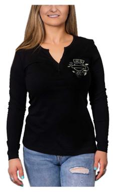 Harley-Davidson Women's Rhinestone Garden Long Sleeve Henley Shirt - Black - Wisconsin Harley-Davidson