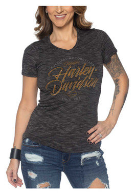 Harley-Davidson Women's Bonneville Rhinestone V-Neck Short Sleeve Tee - Heather - Wisconsin Harley-Davidson