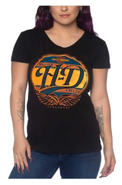 Harley-Davidson Women's Station Stop Round Neck Short Sleeve Cotton Tee, Black - Wisconsin Harley-Davidson