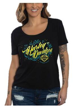 Harley-Davidson Women's Vogue Scoop Neck Short Sleeve Poly-Blend Tee, Black - Wisconsin Harley-Davidson