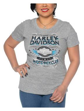 Harley-Davidson Women's Flashy Foiled Scoop Neck Short Sleeve Tee, Heather Gray - Wisconsin Harley-Davidson