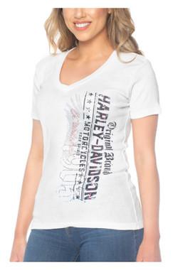 Harley-Davidson Women's Vertical Stones Short Sleeve V-Neck Cotton Tee, White - Wisconsin Harley-Davidson