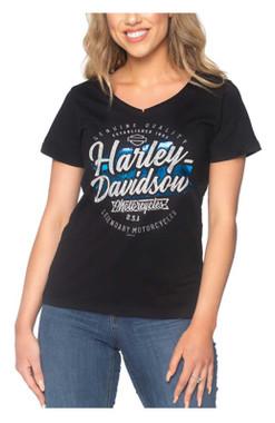Harley-Davidson Women's Farewell Foiled V-Neck Short Sleeve Cotton Tee, Black - Wisconsin Harley-Davidson