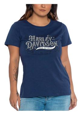 Harley-Davidson Women's Bling Swirls Short Sleeve Poly-Blend Tee, Indigo Blue - Wisconsin Harley-Davidson