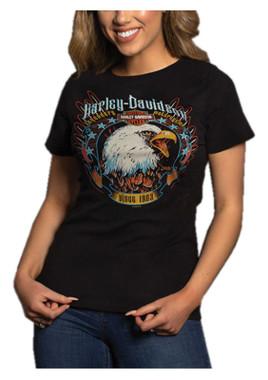 Harley-Davidson Women's Brightness Eagle Short Sleeve Burnout Tee - Acid Wash - Wisconsin Harley-Davidson