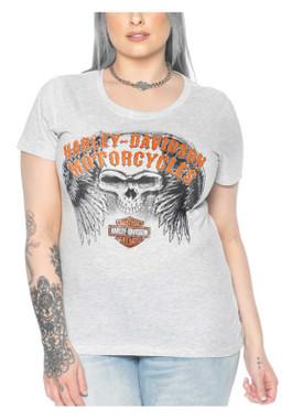 Harley-Davidson Women's Sketching Embellished Short Sleeve Tee - Heather White - Wisconsin Harley-Davidson