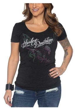 Harley-Davidson Women's Lethal eagle Scoop Neck Short Sleeve Tri-Blend Tee - Wisconsin Harley-Davidson