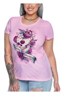 Harley-Davidson Women's Rhinestone Skull & Roses Scoop Neck Short Sleeve Tee - Wisconsin Harley-Davidson