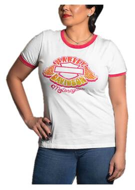 Harley-Davidson Women's Fond Short Sleeve Poly-Blend Ringer Tee - White/Pink - Wisconsin Harley-Davidson