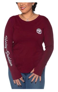 Harley-Davidson Women's Willie G Skull Long Sleeve Poly-Blend Shirt, Purple - Wisconsin Harley-Davidson
