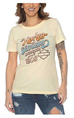 Harley-Davidson Women's Groovy Heaven Scoop Neck Short Sleeve Tee - Yellow - Wisconsin Harley-Davidson