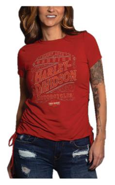 Harley-Davidson Women's Labeled Short Sleeve Side-Ties Crewneck Tee - Red - Wisconsin Harley-Davidson